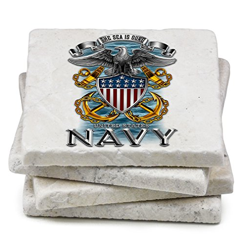 Natural Stone Coasters – United States Navy Gifts for Men or Women – US Navy Beverage & Beer Coasters – US Navy Full Print Eagle Gift Set (Set of 4) (State Themed Gifts)