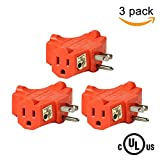 3 plug - (3 Pack) Uninex T-shape Triple (3) Outlet Heavy Duty Grounded Wall Plug Tap Adapter Orange