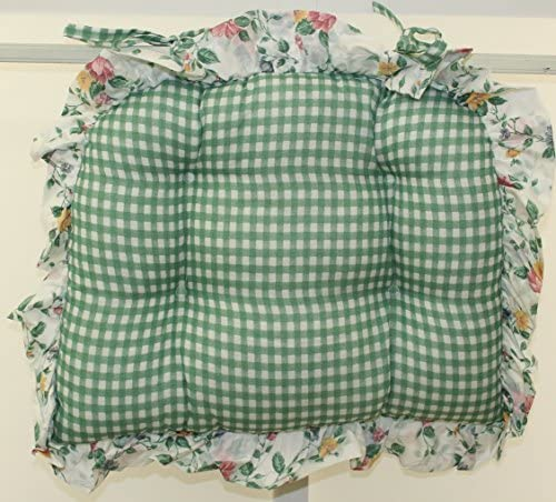 Dreams Floral and Gingham Chairpad Green