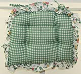 Dreams Floral and Gingham Chairpad Green For Sale