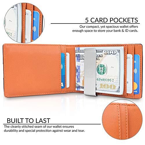 Money Clip Wallet HOUSTON Mens Wallet RFID Blocking Wallet - Minimalist Mini Slim Wallets Bifold for Men with Gift 2