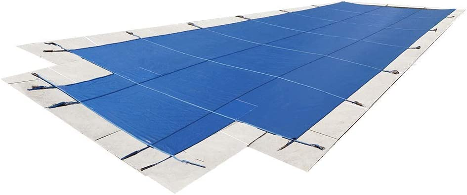 16'x32' Mesh - CES Rectangle Inground Safety Pool Cover - 16 ft x 32 ft In Ground Winter Cover with 4'x8' Center End Steps (Blue) 51DMUqJUS7L