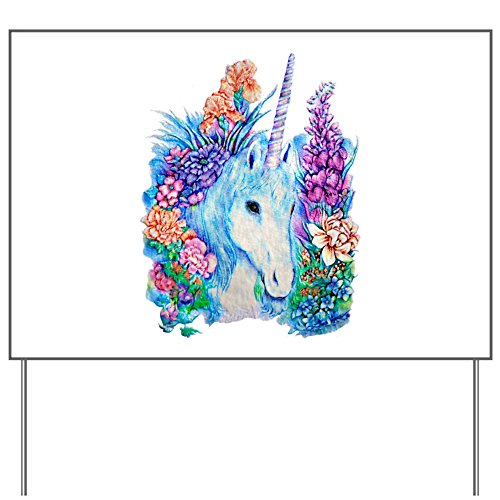 Yard Sign Unicorn in Flowers