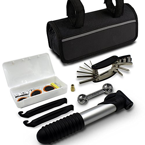 GoTravel2 Mini bike repair tool kit with pump - Mini bicycle repair tool kit with pump,16 in 1 Bicycle Essential Multi tools Set (bike repair tools)