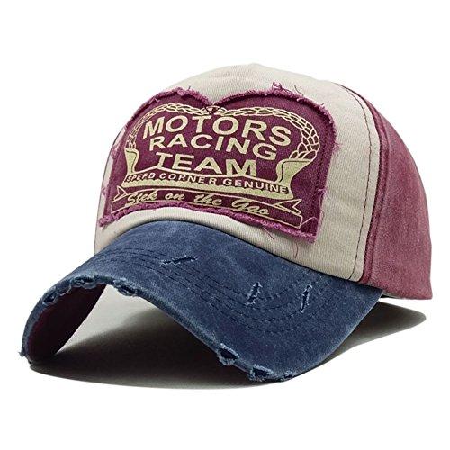 LanLan de Baseball Rétro Casquette Navy Bouchon Blue Snapback Chapeaux Unisexe Hat hop de broyage Red Casquette Coton Wine Équipée Hip SrqwrEt5x