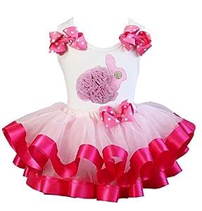 Hot Pink Easter Bunny Satin Trim Tutu Set