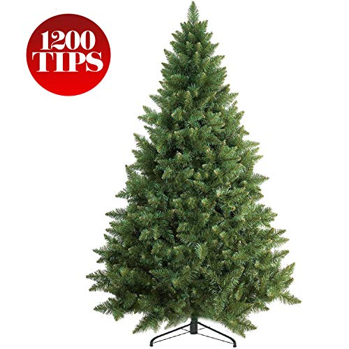 Prextex 6 Feet Premium Artificial Spruce Hinged Christmas Tree Lightweight/Easy to Assemble with Christmas Tree Metal Stand 1200 Tips (Storing Artificial Christmas Tree)