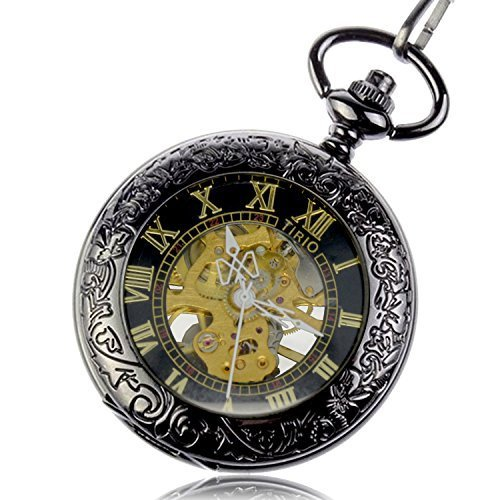 Men's Steampunk Goggles, Guns, Gadgets & Watches Pocket Watch Pendant Roman Number Half Hunter Antiqued Silver Black with New Design Gift Box $14.99 AT vintagedancer.com