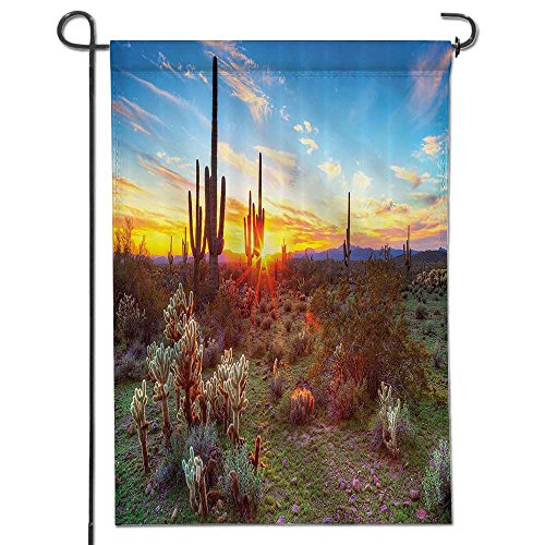 (aolankaili Welcome Garden Flag Saguaros Wildflowers in Sonoran Desert Scene Picture Print Polyester FabricBathroom Polyester, Yard Flag to Brighten Up Your Home-12