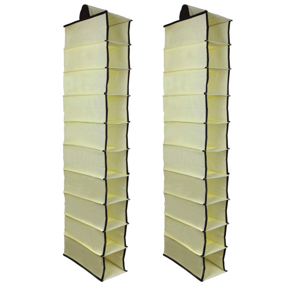 KisSealed 2 Pack 10 Shelves Fabric Hanging Closet Storage Organizer, for Shoes, Handbags, Clutches - 6 x 12 x 47 inch (Beige) Hanging Shoe -beige