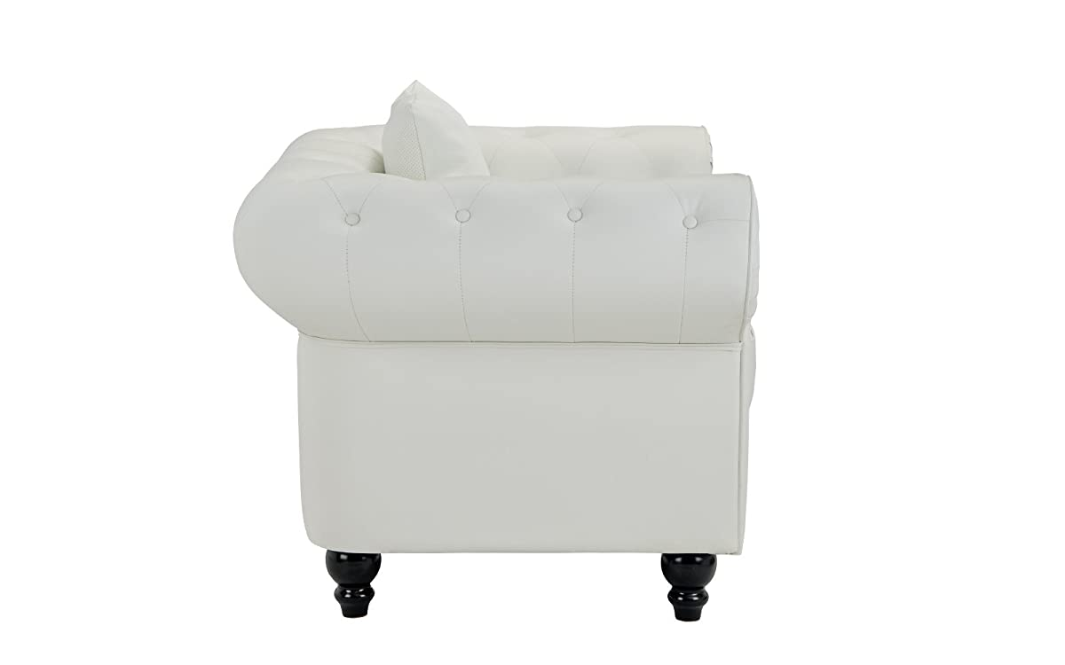 Classic Scroll Arm Tufted Bonded Leather Accent Chair in Colors Black, White (White)