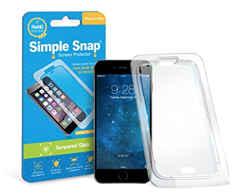Simple Snap Tempered Glass Screen Protector for Apple iPhone 6/6S Plus High Definition (HD) Tempered Glass - Maximum Clarity and Touchscreen Accuracy with