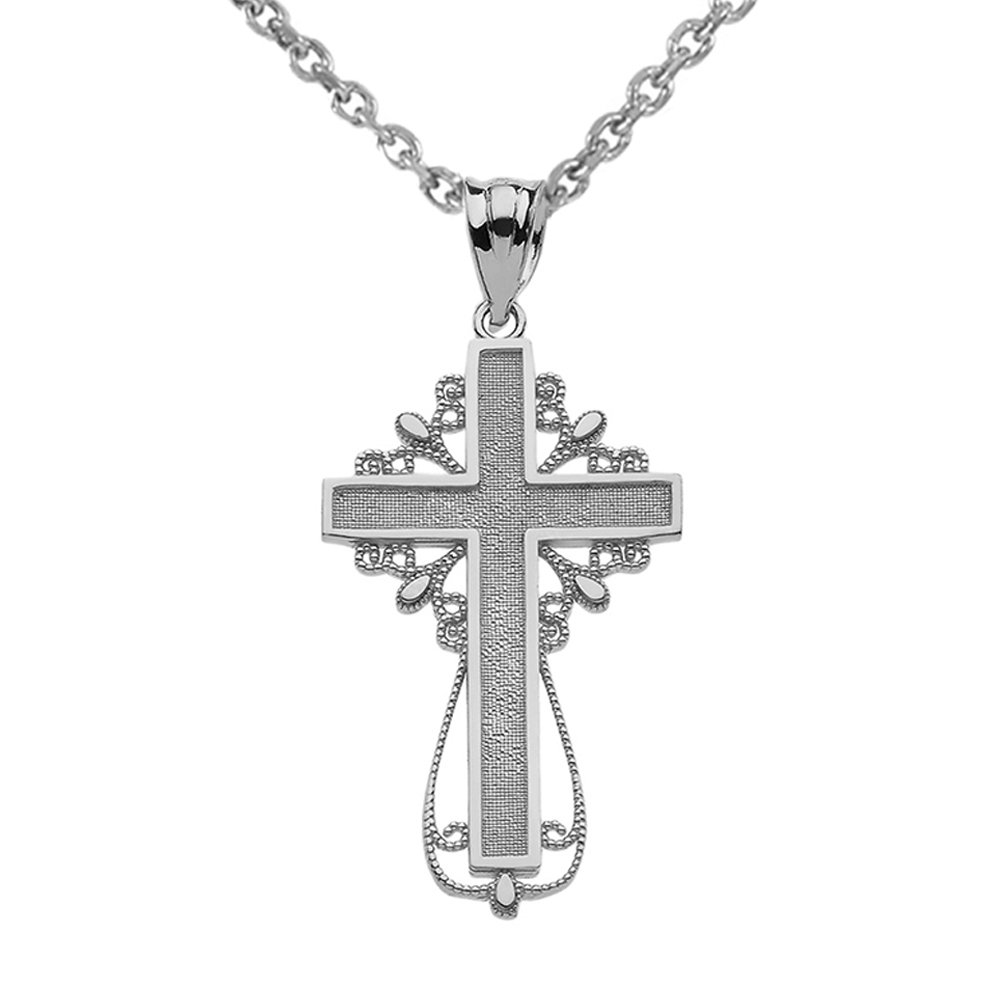 Religious Jewelry by FDJ 925 Sterling Silver Latin Filigree Cross Pendant Necklace
