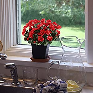 GTIDEA 4pcs Silk Flower Artificial Azalea Fake Faux Primroses Bouquet Arrangements DIY Home Garden Table Patio Wedding Party Christmas Decoration Red 4