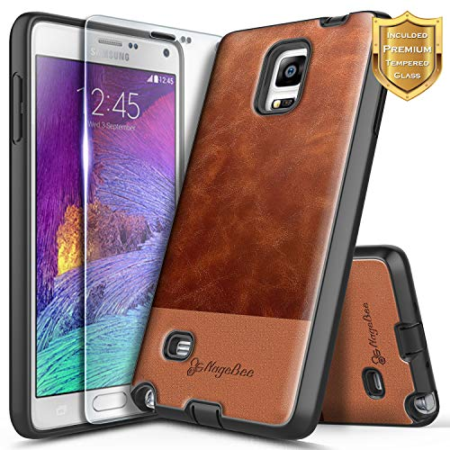 /[Tempered Glass Screen Protector], NageBee Premium [Cowhide Leather] Snap-On Heavy Duty Shockproof Dual Layer Hybrid Defender Rugged Durable Case for Samsung Galaxy Note 4 -Brown ()