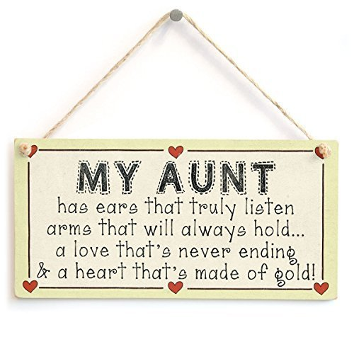 Jay Welch Home Decor 12 x 8 Plaque Sign My Aunt Has A Heart That's Made of Gold Wooden Sign for Outdoor Yard Hanging Sign