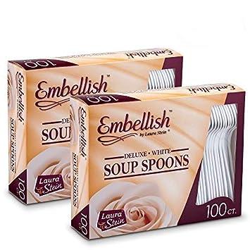 Embellecer cubertería Deluxe pesado peso blanco cucharas de sopa de plástico 100 cucharas de sopa en