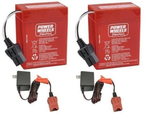 (Power Wheels 2 Pack of 6 Volt Red Batteries and 2 6 Volt Chargers)