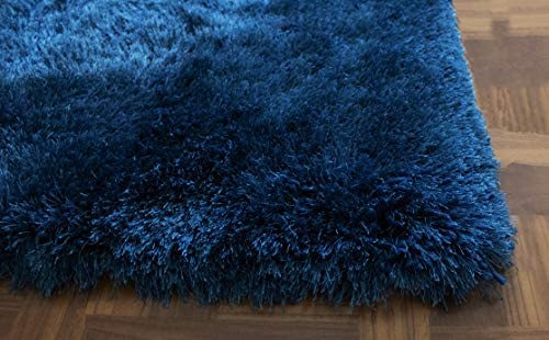 Navy Blue Dark Blue Colors 8×10 Feet Solid Pattern Modern Contemporary Decorative Designer Bedroom Living Room Office Space Bedroom Area Rug Carpet Hand Woven Shag Shaggy Fluffy Fuzzy Furry Flokati