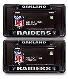 Oakland Raiders Official NFL (1 Front, 1 Rear ) Black Metal License Plate Frame