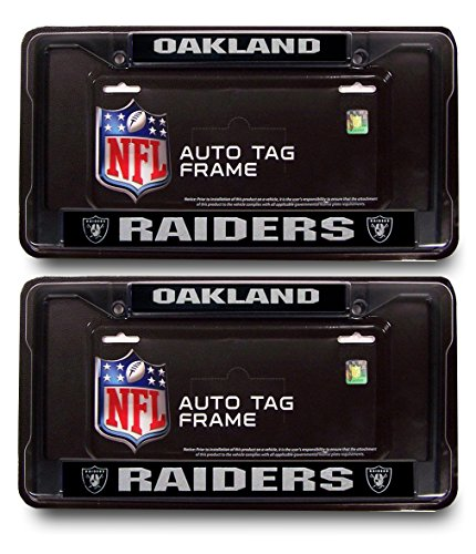 Oakland Raiders Official NFL (1 Front, 1 Rear ) Black Metal License Plate Frame