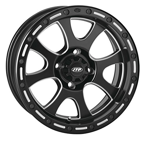 ITP 14TS110BX Tsunami Simulated Bead Lock Wheel - 14x7 - 5+2 - 4/110, Bolt Pattern: 4/110, Rim Offset: 5+2, Wheel Rim Size: 14x7, Color: Black/Machined, Position: Front/Rear by ITP