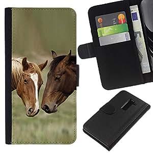 LG G2 D800 - Dibujo PU billetera de cuero Funda Case Caso de la piel de la bolsa protectora Para (Horse Friends)