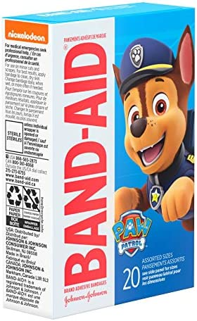 51DMX fYMNL. AC - Band-Aid Brand Adhesive Bandages For Minor Cuts & Scrapes, Wound Care Featuring Nickelodeon Paw Patrol Characters For Kids And Toddlers, Assorted Sizes 20 Ct