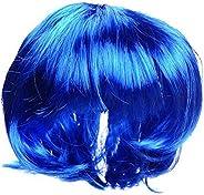 Fashion Pop Cat and Dog Wig Cat Hood Headgear Wig Short Straight Blue Headgear Hat Cost-effective and Good Qua