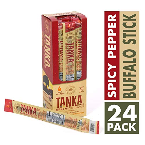(Bison Pemmican Meat Stick with Buffalo & Cranberries by Tanka, Gluten Free, Beef Jerky Alternative, Spicy Pepper, 1 Oz, Pack of 24)