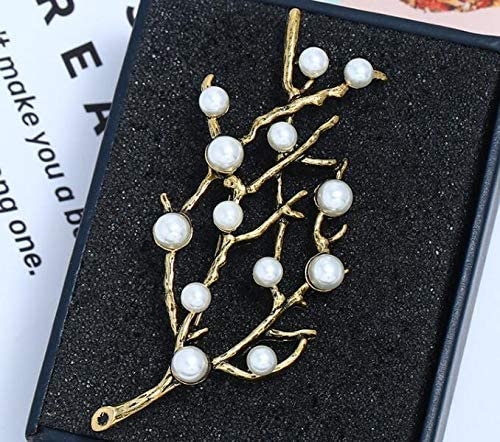 Pearls Crystal Rhinestone Brooches Pins MingXinLong 2 Pieces//Set Fashionable Gorgeous Retro Leaves Brooches Pins