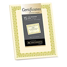 Southworth Premium Weight Foil-Enhanced Certificates, 8.5 x 11 Inches, Ivory with Gold Foil, 15 Counts (CTP1V)