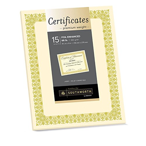 Southworth Premium Weight Certificates, Fleur Design, Gold Foil, 66 lb, Ivory, Pack of 15 ()