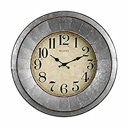 Bulova Industrial Wall Clock, Silver