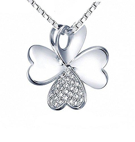 Sterling Silver Four Leaf Clover 4 Leaf Clover Lucky Symbol Pave Pendant Necklace For Women ()