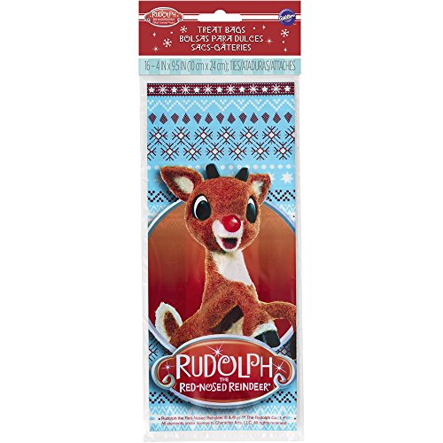 Wilton Rudolph Red-Nosed Reindeer Treat Bags, 16-Count (Cookie Rudolph)