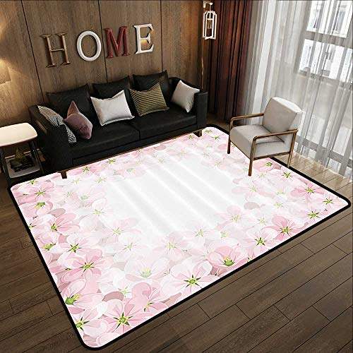 "Outdoor Carpet,Floral,Romantic Apple Flower Petals Blooms Nature Essence Beauty Bouquet Image,Baby Pink Lime Green 71""x 106"" Anti-Slip Outdoor Rugs"