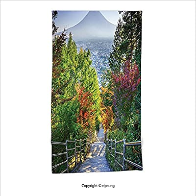 Vipsung Microfiber Ultra Soft Hand Towel-House Decor Collection Stairway To Mt. Fuji Fujiyoshida Japan Tourist Attractions Landmark Scenery Picture Green Gray For Hotel Spa Beach Pool Bath