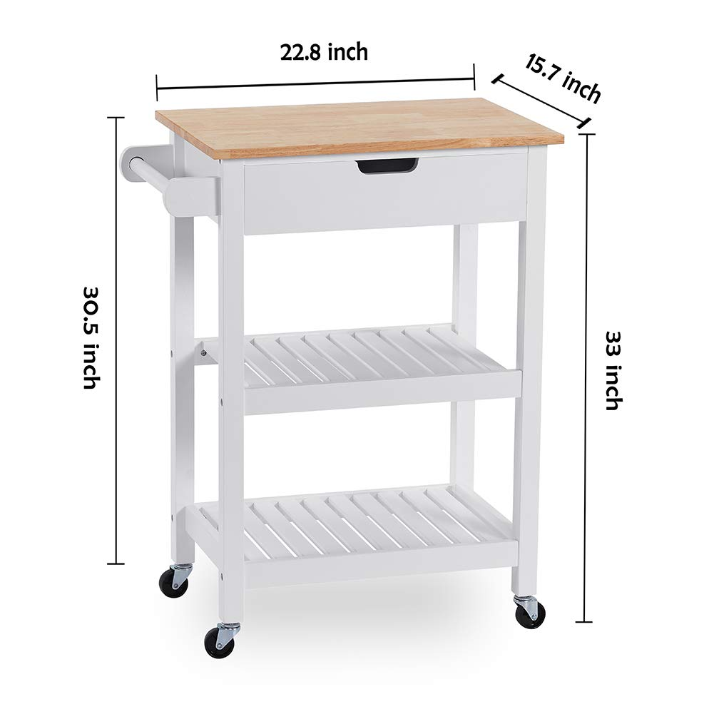 Coniffer Rolling Kitchen Cart Microwave Storage Island with Wheels White for Dining Rooms Kitchens and Living Rooms