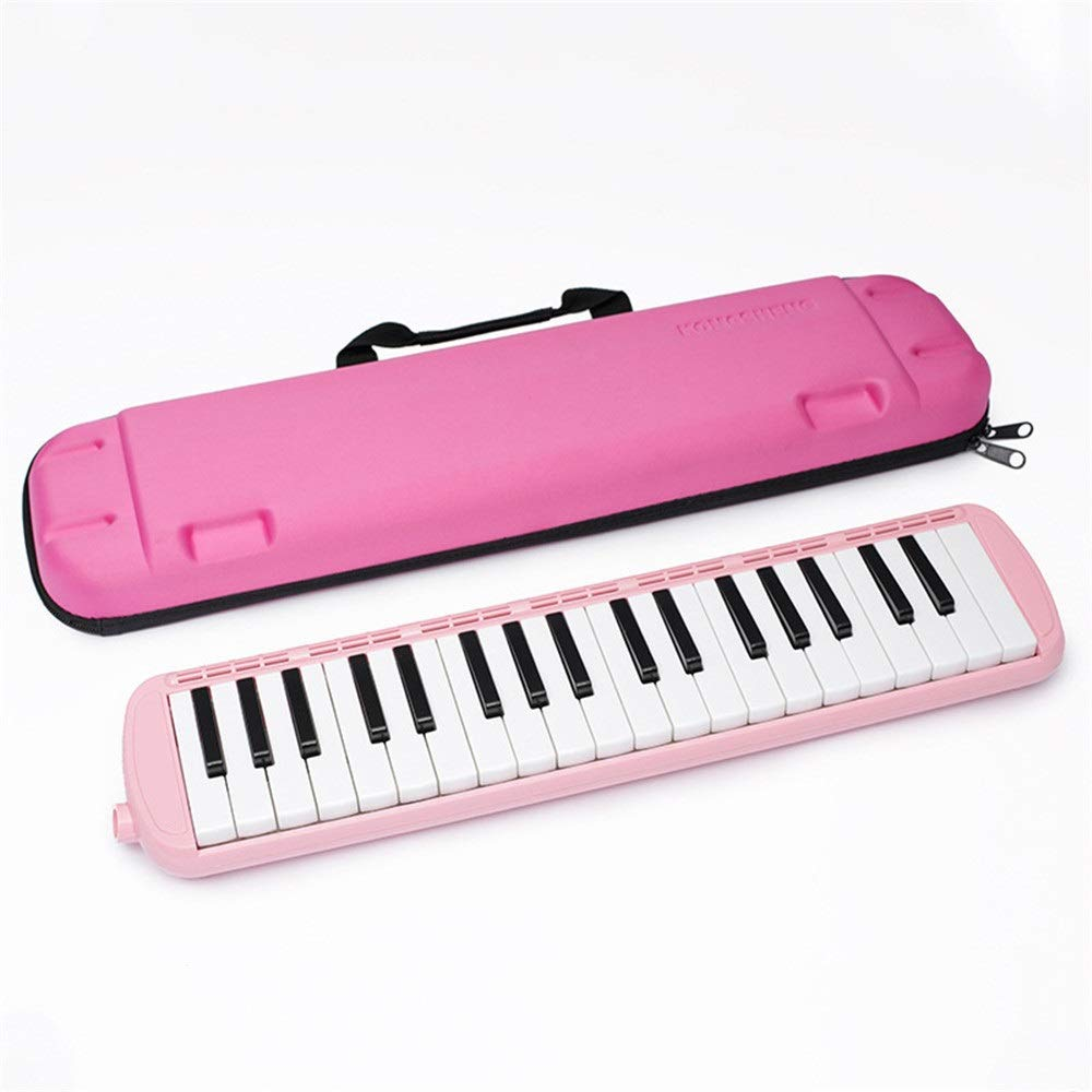 Melodica Musical Instrument 37 Keys Kids Musical Piano Melodica Instrument Gift Toy Pianica Melodica For Music Lovers Beginners Portable With Mouthpieces Tube Sets Carrying Bag Pink Blue for Music Lov
