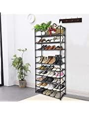 AOSION 10 Tier Shoe Rack Organizer With Handle,Adjustable 50 Pairs For Tall Shoe Rack,Lightweight And Removable Metal Shoe Shelf,Black