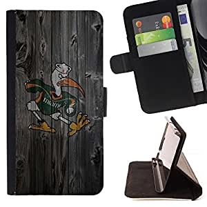 - Miami Hurricane Football - - Caso de la cubierta de la piel cierre magn????tico Cartera de cuero del tir????n FOR Apple Iphone 4 / 4S Gaga Case