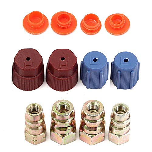 (Trkee Set of 4 A/C R-12 to R-134a Low/High Side Retrofit Conversion Adapter Fitting Caps Kit Air Conditioning AC System)