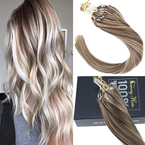 - Sunny 24inch Micro Loop Hair Extensions Human Hair Light Brown Highlight with Blonde Micro Rings Beads Hair Extensions Real Human Hair 1g/s 50g