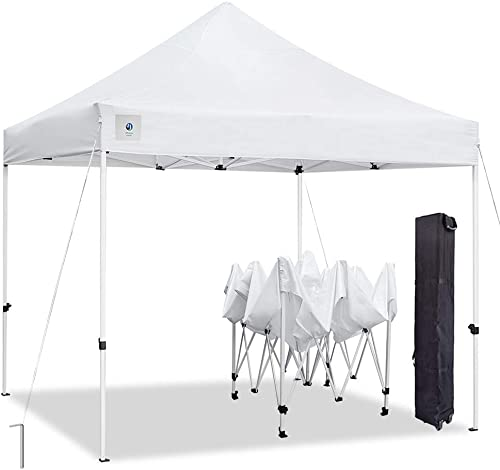 ALLINBOOST 10×10 Pop Up Outdoor Canopy Tent, Banch Canopy Sun Shelter, Commercial Instant Grill Gazebo with Wheeled Carry Bag for Food Vendors, Farmers Market and Backyard Events