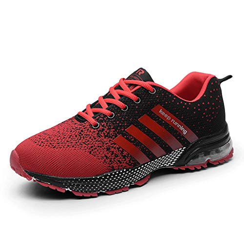 Women Sport Shoes Air Cushion Knit Breathable Casual Walking Running Sneaker (US:10, Red) ()