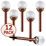 NEW 2017 SET OF 12 Crackle Glass Globe Color-Changing LED & White LED Copper Solar Path Lights by SOLAscape