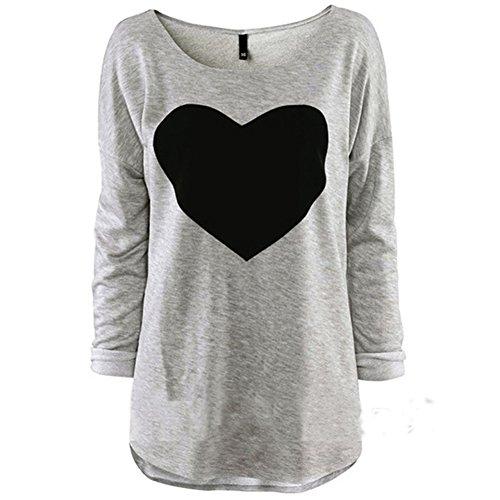 Women Tops O-Neck Long Sleeve Heart Printed Casual Shirt (Medium, Grey)