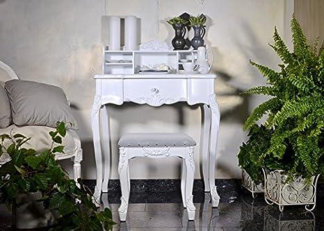 Bureau table secretaire style meuble ancien bois blanc Écriture