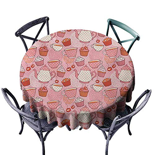 VIVIDX Spill-Proof Table Cover,Cartoon,Teapots Cups with Polka Dots Patterns Cherries Cakes Tea Coffee Pattern,for Banquet Decoration Dining Table Cover,60 INCH,Pink Orange and Red